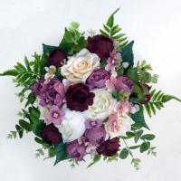 Mályva bordó örökvirág menyasszonyi csokor