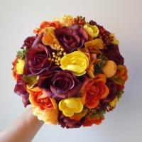 Őszi menyasszonyi selyemvirág csokor