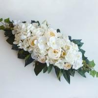 Selyemvirág főasztaldísz krém fehér színben
