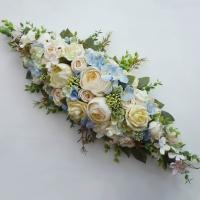 Pasztell selyemvirág főasztaldísz