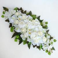Fehér örökvirág főasztaldísz