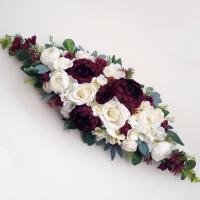 Bordó baszarózsás selyemvirág asztaldísz