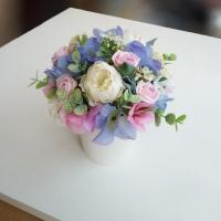 Selyemvirág asztaldísz kaspóban
